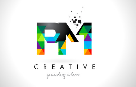 PM P L Letter Logo with Colorful Vivid Triangles Texture Design Vector Illustration.