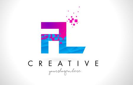 FL F L Letter Logo with Broken Shattered Blue Pink Triangles Texture Design Vector Illustration.