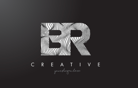 BR B R Letter Logo with Zebra Lines Texture Design Vector Illustration.