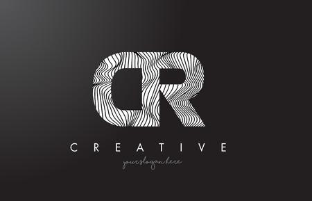 CR C R Letter Logo with Zebra Lines Texture Design Vector Illustration.