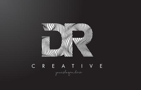 DR D R Letter Logo with Zebra Lines Texture Design Vector Illustration.