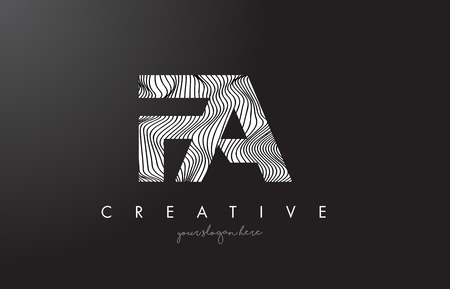 FA F A Letter Logo with Zebra Lines Texture Design Vector Illustration.