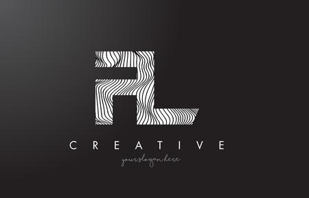 FL F L Letter Logo with Zebra Lines Texture Design Vector Illustration.