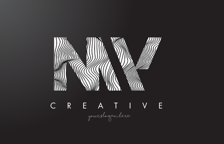 NW N W Letter Logo with Zebra Lines Texture Design Vector Illustration.
