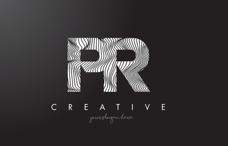 PR P R Letter Logo with Zebra Lines Texture Design Vector Illustration.