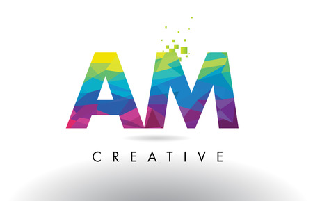 AM A M Colorful Letter Design with Creative Origami Triangles Rainbow Vector.