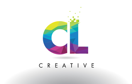 CL C L Colorful Letter Design with Creative Origami Triangles Rainbow Vector.