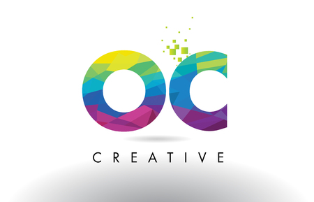 OC O C Colorful Letter Design with Creative Origami Triangles Rainbow Vector.