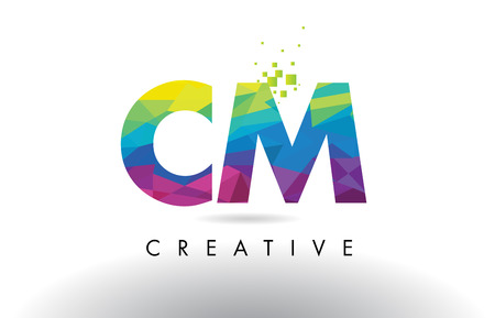 CM C M Colorful Letter Design with Creative Origami Triangles Rainbow Vector.