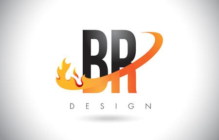 BR B R Letter Logo Design with Fire Flames and Orange Swoosh Vector Illustration.