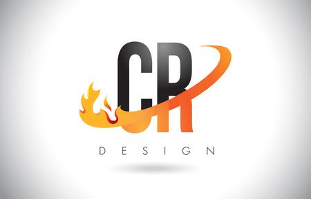 CR C R Letter Logo Design with Fire Flames and Orange Swoosh Vector Illustration.