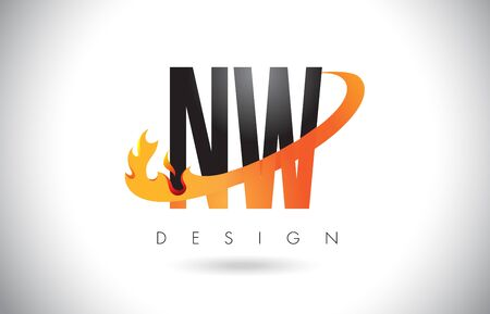 NW N W Letter Logo Design with Fire Flames and Orange Swoosh Vector Illustration.