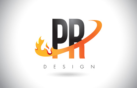 PR P R Letter Logo Design with Fire Flames and Orange Swoosh Vector Illustration.