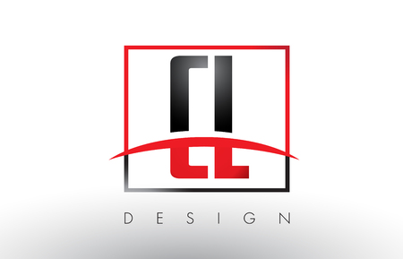 CL C L Logo Letters with Red and Black Colors and Swoosh. Creative Letter Design Vector.