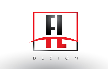 FL F L Logo Letters with Red and Black Colors and Swoosh. Creative Letter Design Vector.