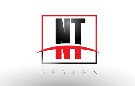 NT N T Logo Letters with Red and Black Colors and Swoosh. Creative Letter Design Vector.