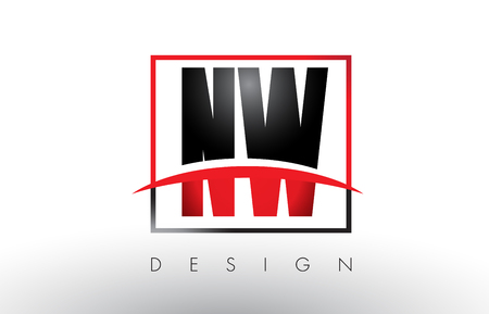 NW N W Logo Letters with Red and Black Colors and Swoosh. Creative Letter Design Vector.