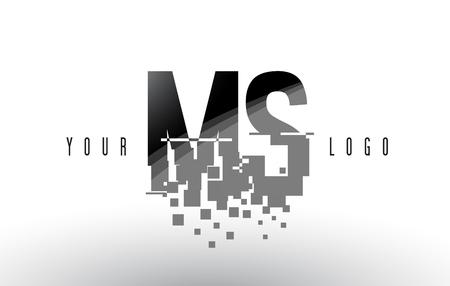 MS M S Pixel Letter Logo with Digital Shattered Black Squares. Creative Letters Vector Illustration.