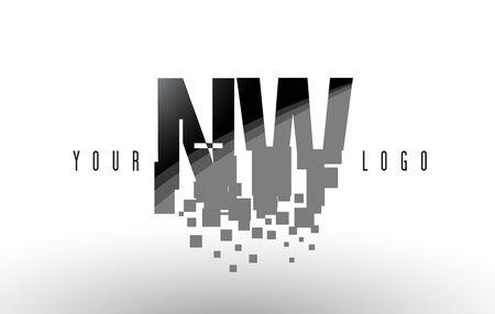 NW N W Pixel Letter Logo with Digital Shattered Black Squares. Creative Letters Vector Illustration.