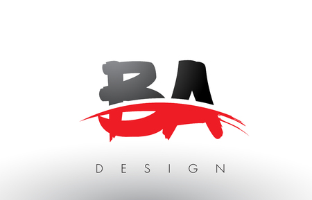 BA B A Brush Logo Letters Design with Red and Black Colors and Brush Letter Concept.