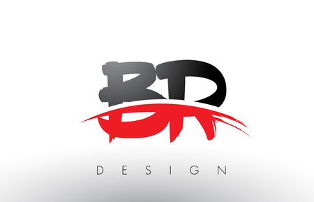 BR B R Brush Logo Letters Design with Red and Black Colors and Brush Letter Concept.