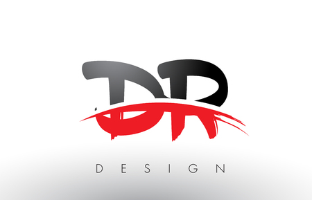 DR D R Brush Logo Letters Design with Red and Black Colors and Brush Letter Concept.