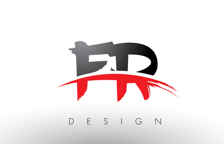 FR F R Brush Logo Letters Design with Red and Black Colors and Brush Letter Concept.