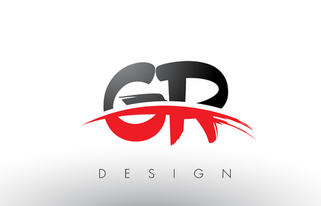 Gr G R Brush Logo Letters Design With Red And Black Colors