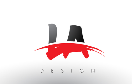 LA L A Brush Logo Letters Design with Red and Black Colors and Brush Letter Concept.