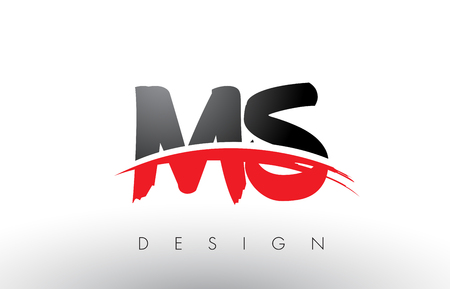 MS M S Brush Logo Letters Design with Red and Black Colors and Brush Letter Concept.