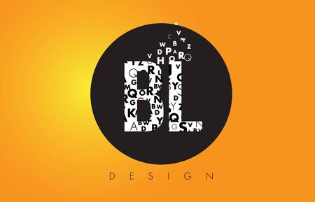 BL B L Logo Design Made of Small Letters with Black Circle and Yellow Background.