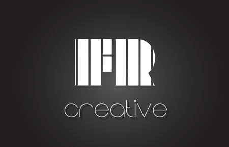 FR F R Creative Letter Logo Design With White and Black Lines.
