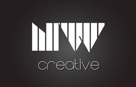 NW N W Creative Letter Logo Design With White and Black Lines.