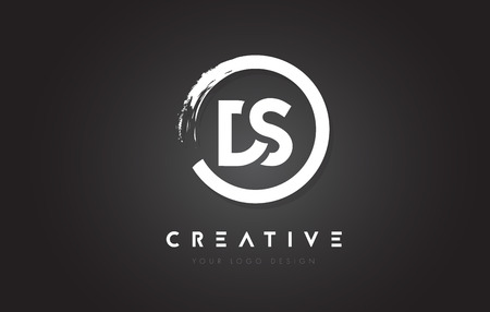 Ilustración de DS Circular Letter Logo with Circle Brush Design and Black Background. - Imagen libre de derechos