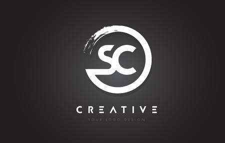 Sc Circular Letter Logo With Circle Brush Design And Black