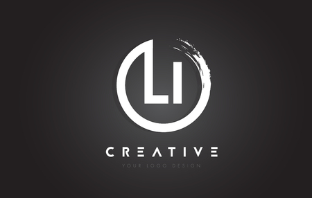 LI Circular Letter Logo with Circle Brush Design and Black Background.