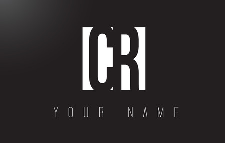 CR Letter Logo With Black and White Letters Negative Space Design.