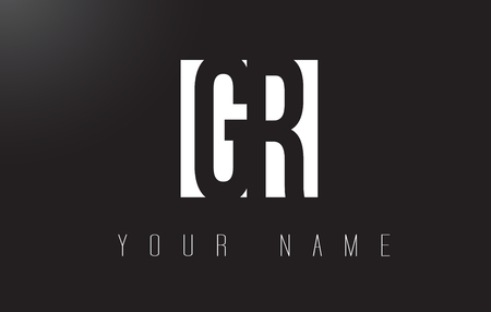 GR Letter Logo With Black and White Letters Negative Space Design.