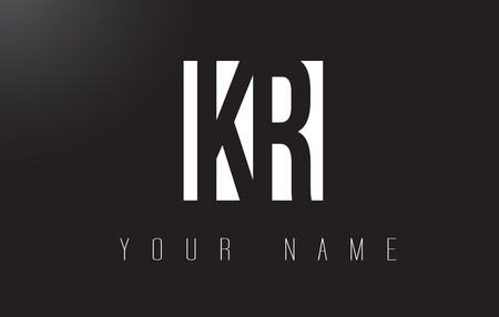 KR Letter Logo With Black and White Letters Negative Space Design.