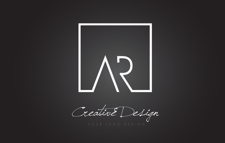 AR Square Framed Letter Logo Design Vector with Black and White Colors.