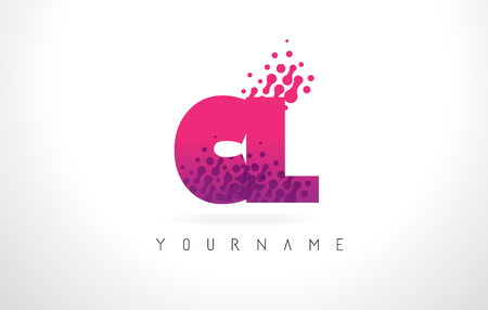 CL C L Letter Logo with Pink Letters and Purple Color Particles Dots Design.