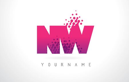 NW N W Letter Logo with Pink Letters and Purple Color Particles Dots Design.