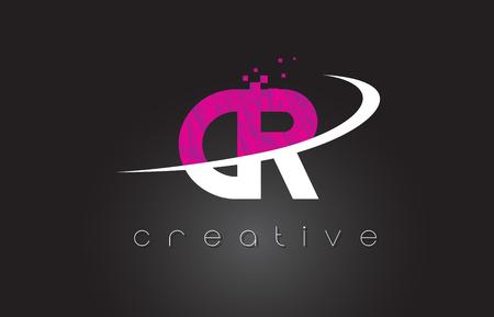 CR C R Creative Letters Design. White Pink Letter Vector Illustration.