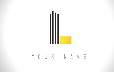 L Black Lines Letter Logo. Creative Line Letters Design Vector Template.