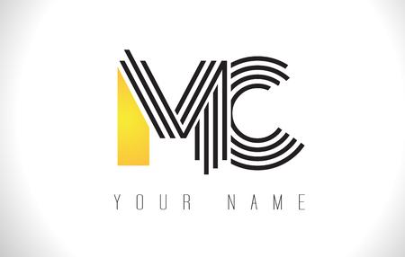 MC Black Lines Letter Logo. Creative Line Letters Design Vector Template.