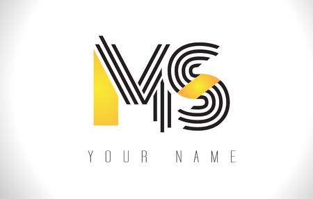 MS Black Lines Letter Logo. Creative Line Letters Design Vector Template.