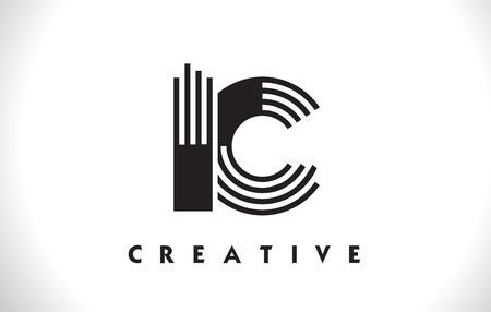 IC Letter Logo With Black Lines Design. Line Letter Symbol Vector Illustration