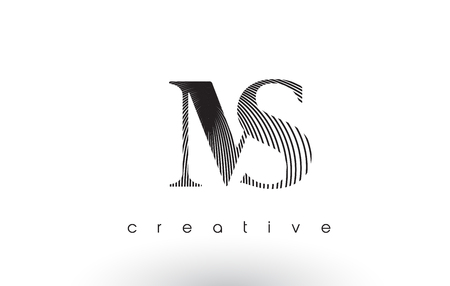 MS Logo Design With Multiple Lines. Artistic Elegant Black and White Lines Icon Vector Illustration.