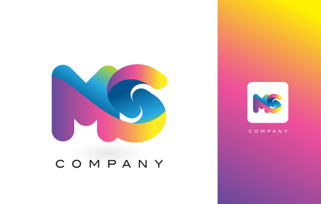 MS Logo Letter With Rainbow Vibrant Colors. Colorful Modern Trendy Purple and Magenta Letters Vector Illustration.