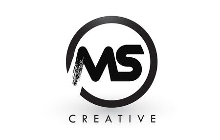MS Brush Letter Logo Design with Black Circle.